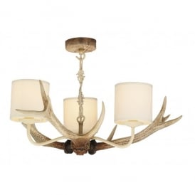 Antler 3 Light Bleached Ceiling Fitting with Cream Shades