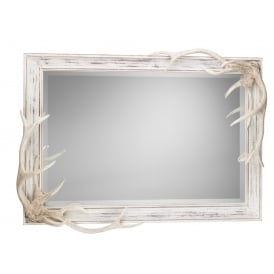 Antler Bevelled Wall Mirror In Distressed Cream Finish