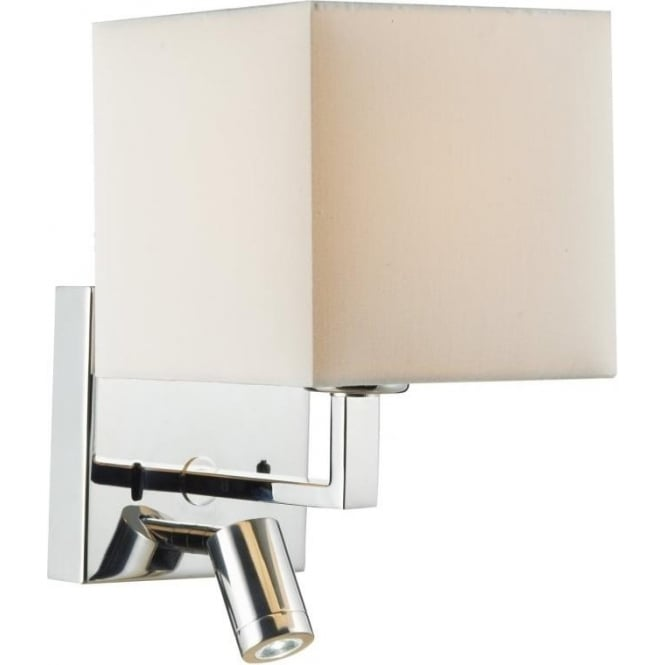 Dar Lighting Anvil Switched 2 Light Polished Chrome Wall Bracket with Cream Shade and LED Task ...
