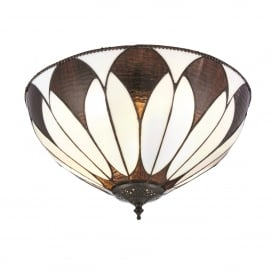 Aragon 2 Light Medium Flush Ceiling Fitting In Bronze Finish With Tiffany Art Deco Shade