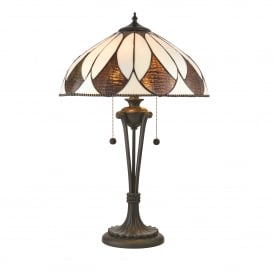 Aragon 2 Light Medium Table Lamp In Bronze Finish With Tiffany Art Deco Shade
