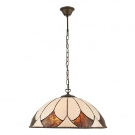 Aragon 3 Light Large Ceiling Pendant In Bronze Finish With Tiffany Art Deco Shade