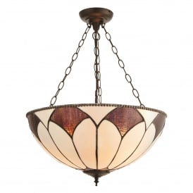 Aragon 3 Light Large Inverted Ceiling Pendant In Bronze Finish With Tiffany Art Deco Shade
