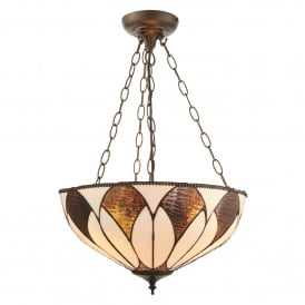 Aragon 3 Light Medium Inverted Ceiling Pendant In Bronze Finish With Tiffany Art Deco Shade