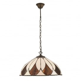 Aragon Single Light Medium Ceiling Pendant In Bronze Finish With Tiffany Art Deco Shade