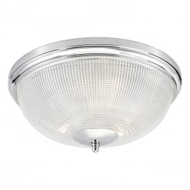 Arbor 3 Light Flush Bathroom Ceiling Fitting in Polished Chrome Finish with Glass