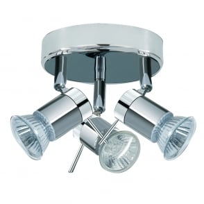 Aries 3 Light LED Bathroom Ceiling Spotlight Fitting In polished Chrome Finish