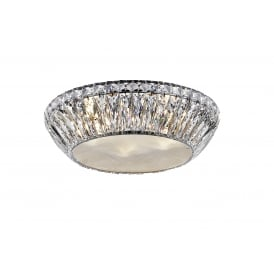 Armel 5 Light LED Flush Ceiling Fitting In Polished Chrome And Crystal Finish