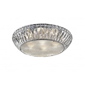Armel 7 Light LED Flush Ceiling Fitting In Polished Chrome And Crystal Finish