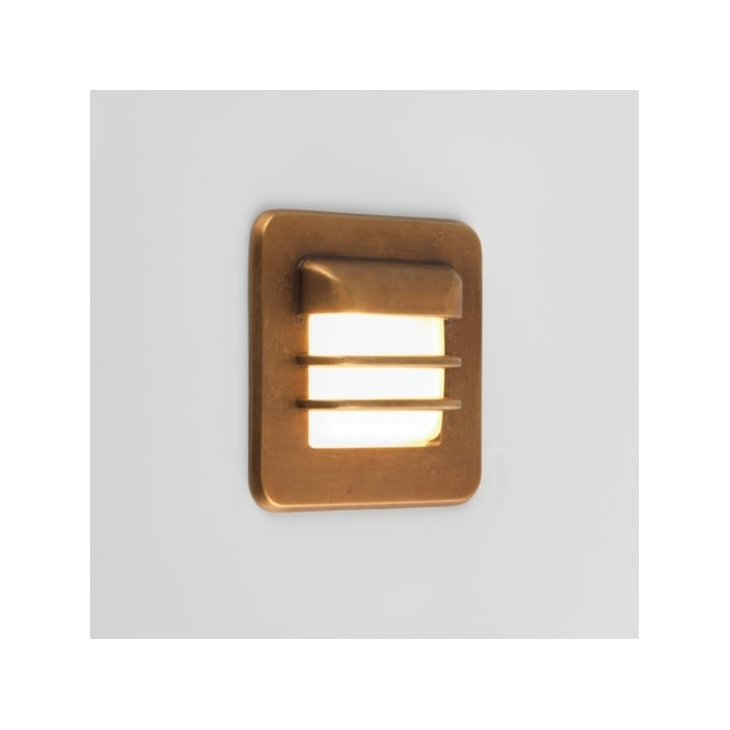 Astro Lighting Arran Single LED Coastal Exterior Square Wall Fitting in Antique Brass Finish
