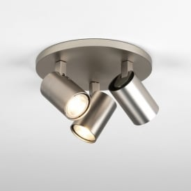 Ascoli Triple Round Switched Halogen Ceiling Spotlight in Matt Nickel Finish