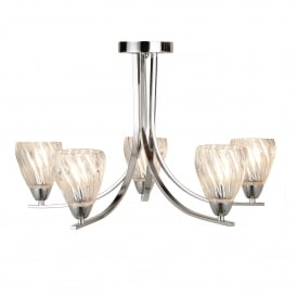 Ascona ll, 5 Light Ceiling Fitting In Polished Chrome Finish With Clear Glass Shades