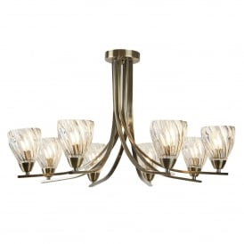 Ascona ll, 8 Light Ceiling Fitting In Antique Brass Finish With Clear Glass Shades