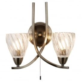 Ascona ll, Twin Light Wall Fitting In Antique Brass Finish With Clear Glass Shades