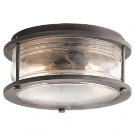 Ashland Bay 2 Light Flush Ceiling Fitting in Weathered Zinc Finish with Clear Glass