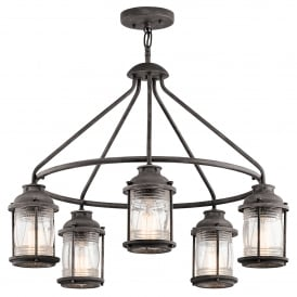 Ashland Bay 5 Light Ceiling Chandelier in Weathered Zinc Finish with Clear Glass