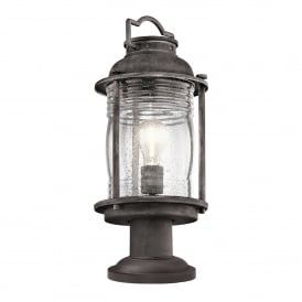 Ashland Bay Outdoor Single Light Pedestal Lantern in Weathered Zinc Finish with Seeded Glass