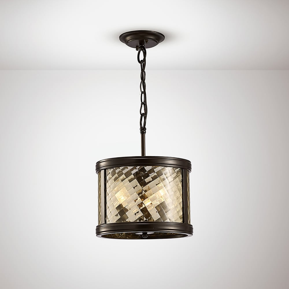 Diyas Asia 3 Light Ceiling Pendant In Oiled Bronze Finish