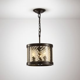 Asia 3 Light Ceiling Pendant In Oiled Bronze Finish With Clear Glass