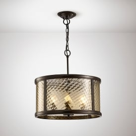 Asia 4 Light Ceiling Pendant In Oiled Bronze Finish With Clear Glass