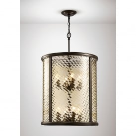 Asia 8 Light Ceiling Pendant In Oiled Bronze Finish With Clear Glass