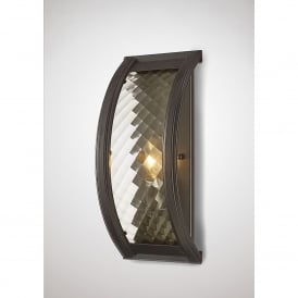 Asia Single Light Wall Fitting In Oiled Bronze Finish With Clear Glass