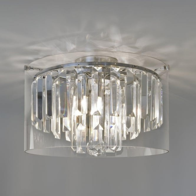 Astro Lighting Asini 3 Light Crystal Bathroom Ceiling Fitting with Polished Chrome Finish
