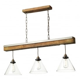 Aspen 3 Light Ceiling Pendant in Wood Effect Finish with Clear Glass Shades