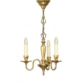 Asquith 3 Light Solid Brass Ceiling Pendant In A Mellow Brass Finish