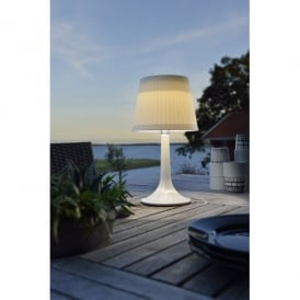 Assisi Solar Outdoor LED Table Lamp with White Base