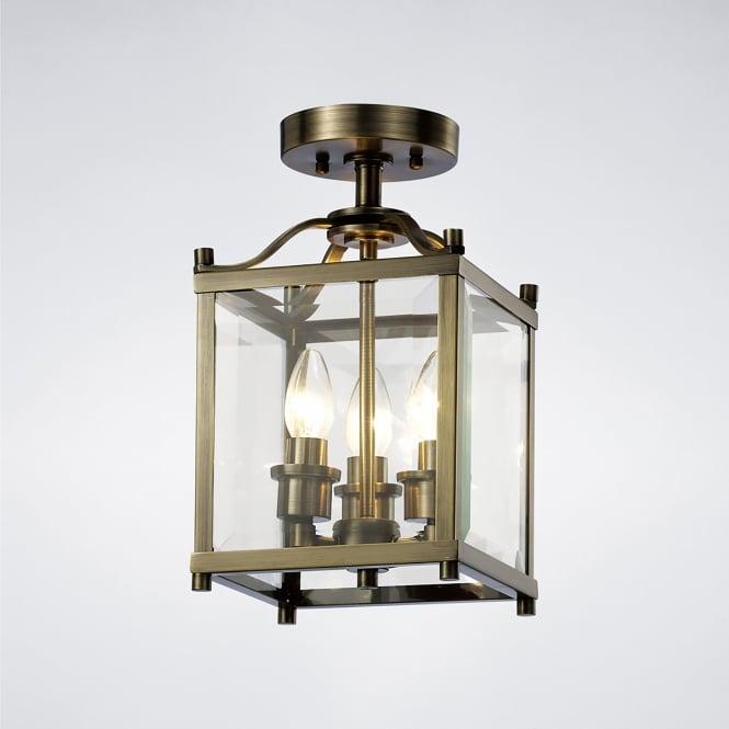 Diyas Aston 3 Light Semi Flush Ceiling Lantern In Antique Brass Finish Ligh