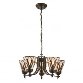 Astoria 5 Light Ceiling Uplighter Pendant In Art Deco Design