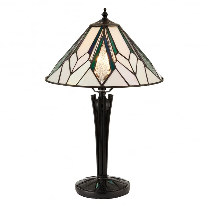 Interiors 1900 Astoria Single Light Tiffany Table Lamp with Art Deco Design and Black Stem