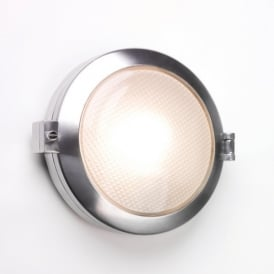 1039001 Toronto Round Single Light Wall Fitting In Polished Aluminium Finish