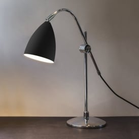 1223011 Joel Grande Single Light Table Lamp In Black And Polished Chrome Finish