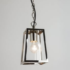 1306004 Calvi Single Light Outdoor Porch Pendant In Polished Nickel Finish