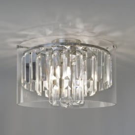 1324001 Asini 3 Light Crystal Bathroom Ceiling Fitting with Polished Chrome Finish