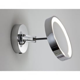 1337001 Catena Single Light Low Energy Magnifying Bathroom Mirror In Polished Chrome Finish