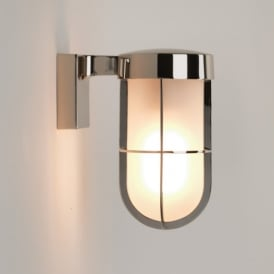 1368006 Cabin Single Light Outdoor Wall Fitting in Polished Nickel Finish With Frosted Glass
