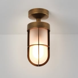 1368012 Cabin Single Light Outdoor Wall Fitting in Antique Brass Finish With Frosted Glass