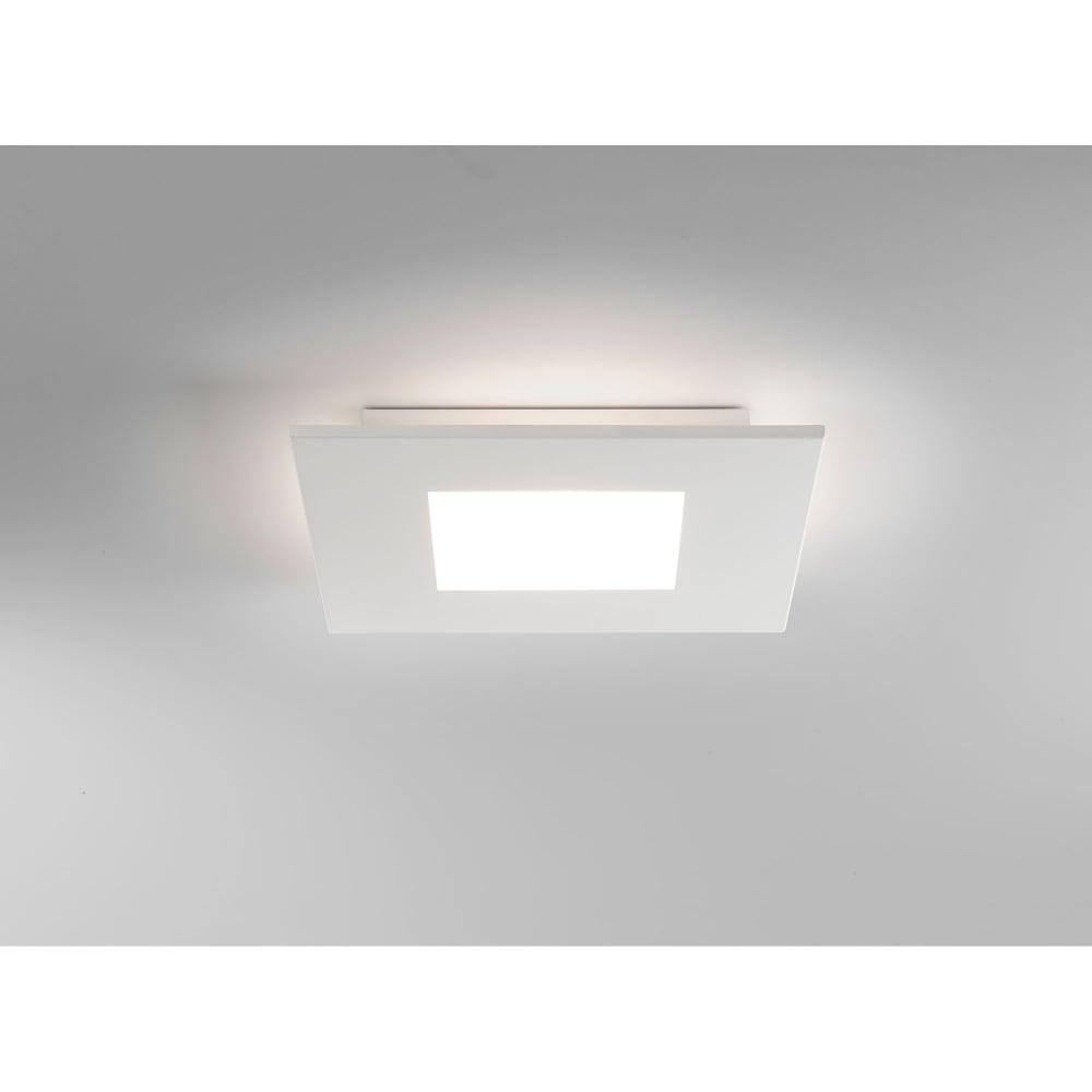 1382001 zero single led square ceiling fitting in white finish