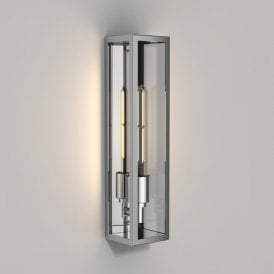 1402002 Harvard Single Light Outdoor Wall Fitting in Polished Stainless Steel Finish