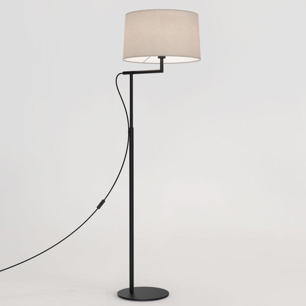 1404007 Telegraph Swing Arm Single Light Floor Lamp Base In Matt Black Finish