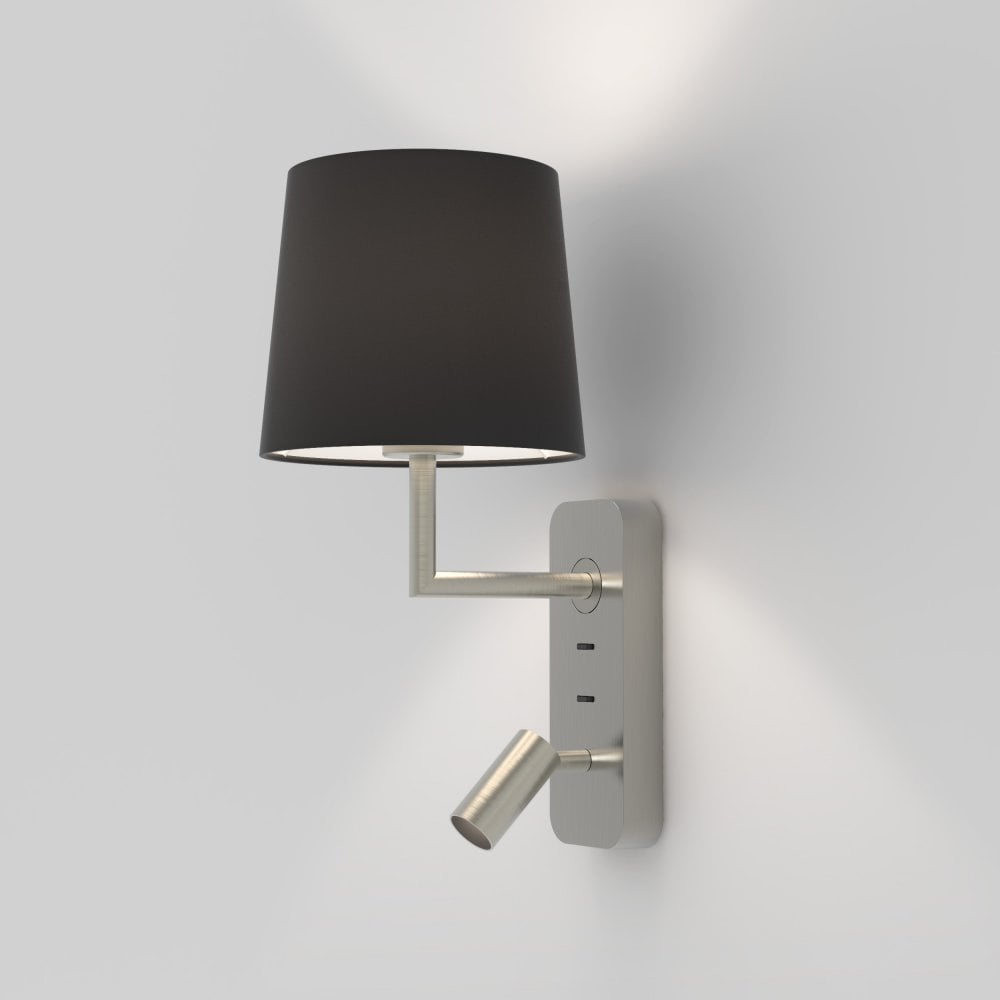 Astro Lighting 1406003 Side By Side 2 Light Wall Fitting In Matt Nickel Finish With Adjustable Led Reading Light Castlegate Lights