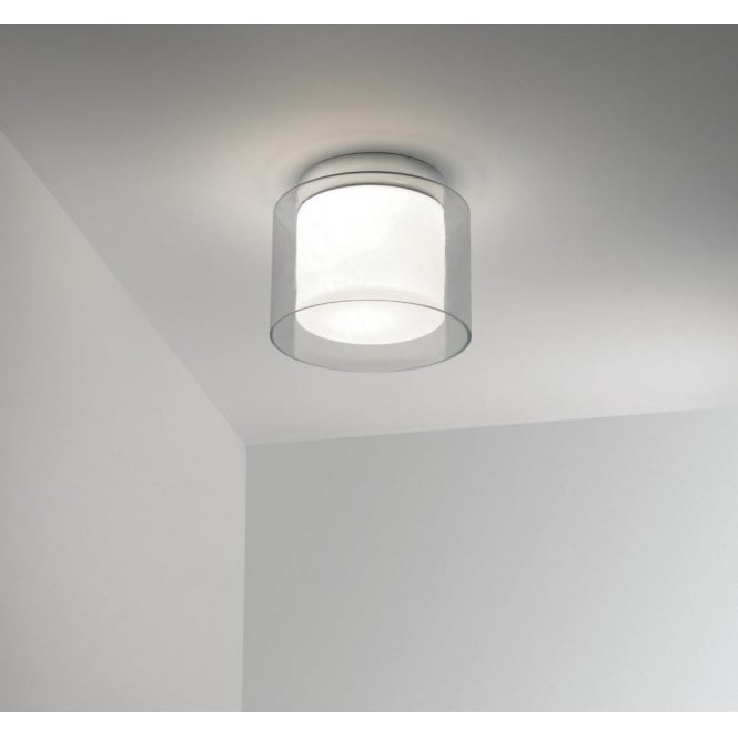 Astro Lighting Arezzo Single Light Bathroom Ceiling Fitting In Polished Chrome Finish With Opal Glass Diffuser And Clear Outer Glass Shade