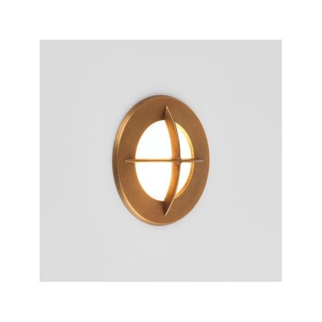 Astro Lighting Arran Single LED Coastal Exterior Round Wall Fitting in Antique Brass Finish