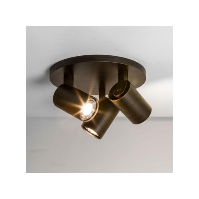 Astro Lighting Ascoli 3 Light Round Spotlight in Bronze Finish (Dimmable)