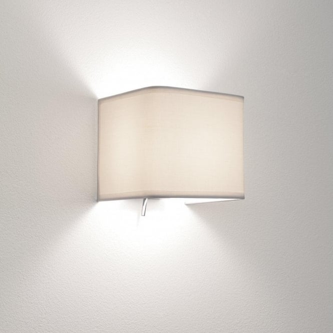 Astro Lighting Ashino Single Light Switched Wall Fitting With White Fabric Shade