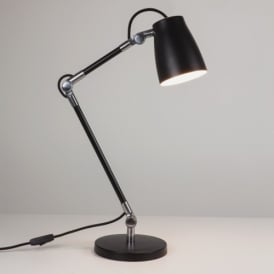 Atelier Single Light Desk Base Lamp In Black Finish