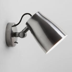 Atelier Single Light Switched Wall Fitting in Polished Aluminium Finish